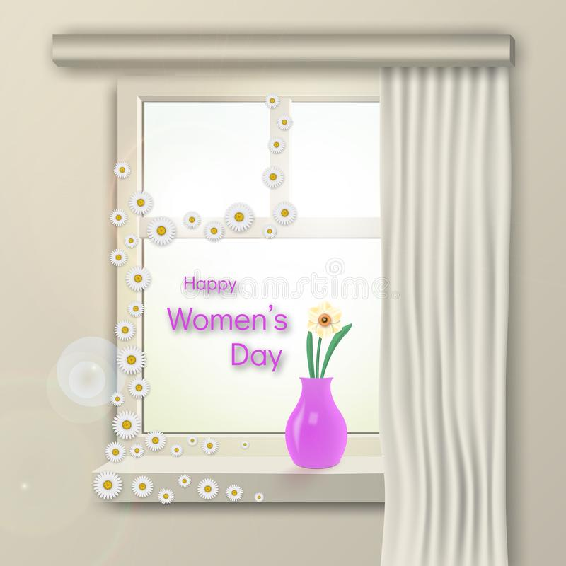 Congratulations on International Women`s Day. On a sunny morning on the window stands a flower in a vase. vector illustration