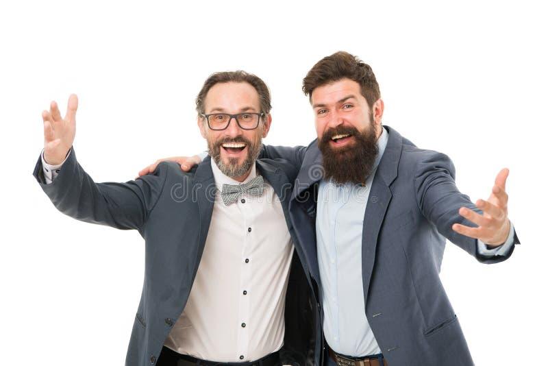 Congratulations. Modern businessmen. marketing concept. Formal businessmen. Male in business office. happy bearded men royalty free stock photos