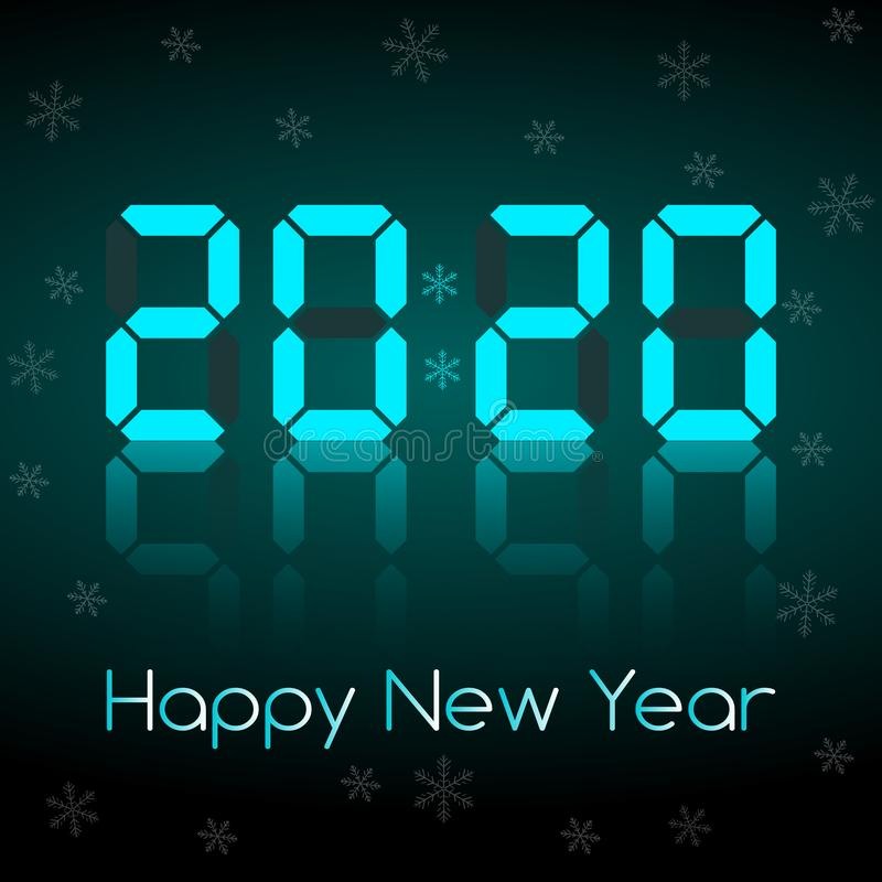 Congratulations on the New Year 2020 on the background of the dial. Of the electronic clock with reflection stock illustration