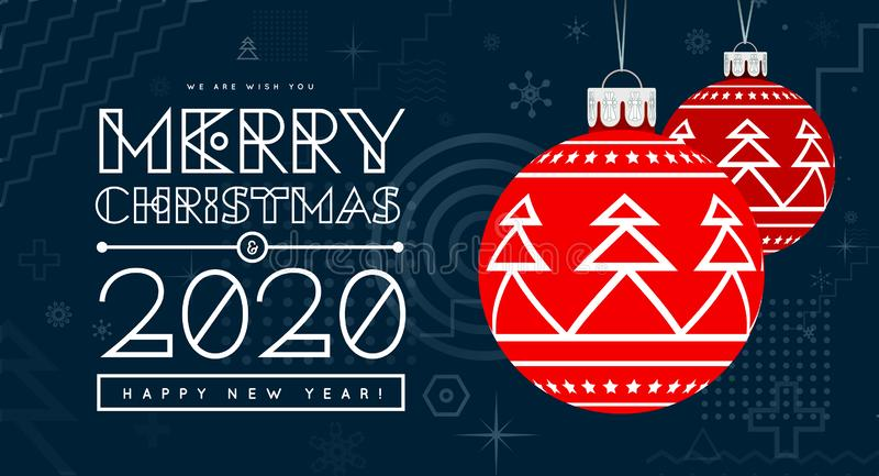 Congratulations on New Year 2020 and Christmas with red Christmas balls with a trendy design on the background. Memphis royalty free stock image