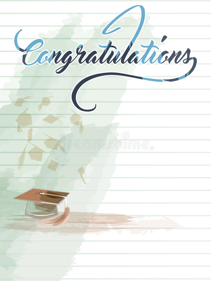 Congratulations note with hat vector illustration