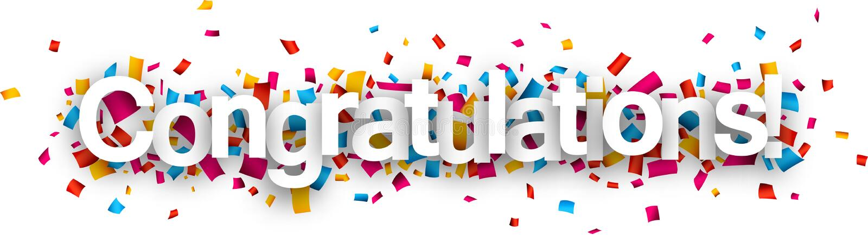 Congratulations paper confetti sign. stock illustration