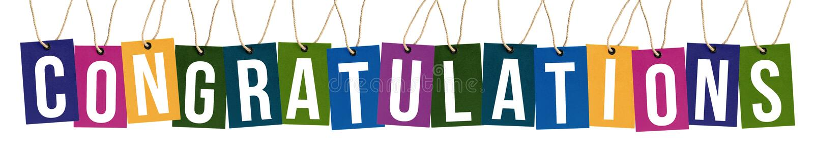Congratulations text on multi color tags royalty free stock photos