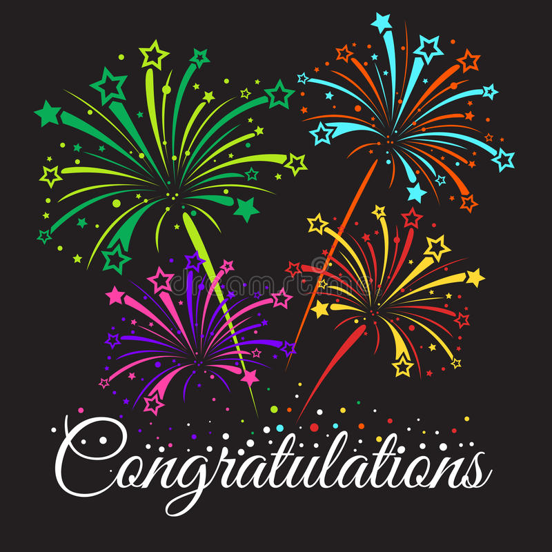 Congratulations text and star fireworks abstract vector royalty free illustration