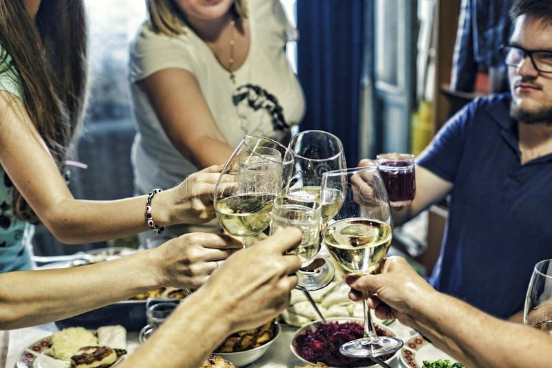 Champagne, wine, celebration, Clinking glasses, alcohol, toasting, family party, event stock images