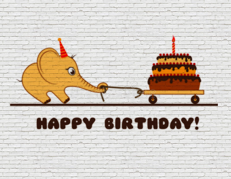 Congratulations to the happy birthday for a child. Graffiti on a white brick wall. Cartoon elephant calf with cake and one candle. Congratulations to the happy stock illustration