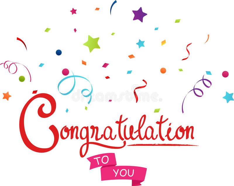 Congratulations to you with confetti stock illustration