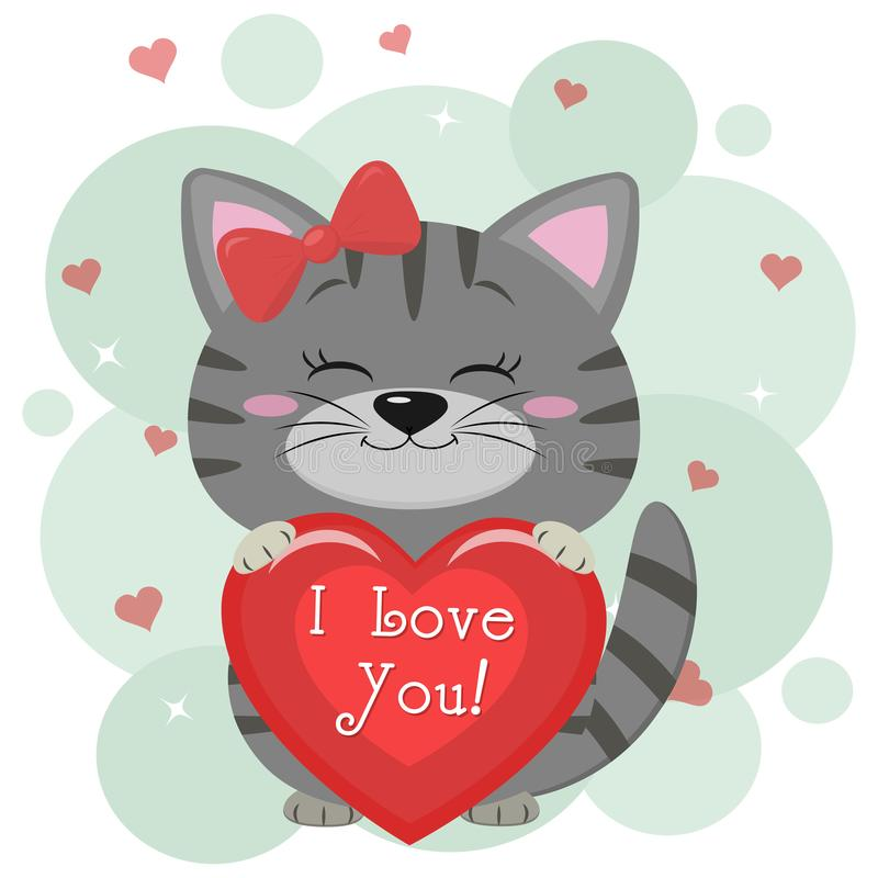 Congratulations on Valentine s Day. A cute gray kitten in a red bow, sits and holds a red heart in its paws. Flat design royalty free illustration