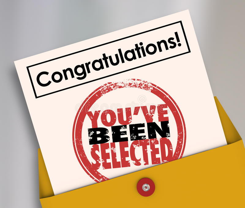 Congratulations You've Been Selected Stamp Official Letter royalty free illustration