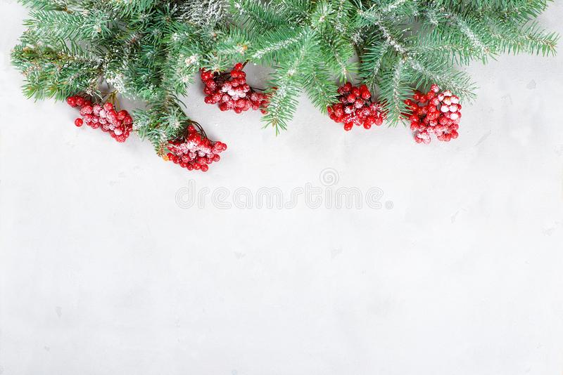 Congratulatory card merry Christmas and New Year. Fir tree branches and a guelder-rose lie on a concrete background stock image