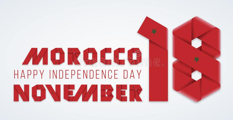 November 18, Morocco Independence Day congratulatory design with Moroccan flag elements. Vector illustration vector illustration