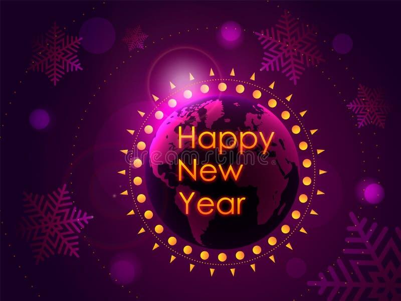 Congratulazione del buon anno sui precedenti del pianeta Terra con il sol levante Illustrazione di vettore royalty illustrazione gratis