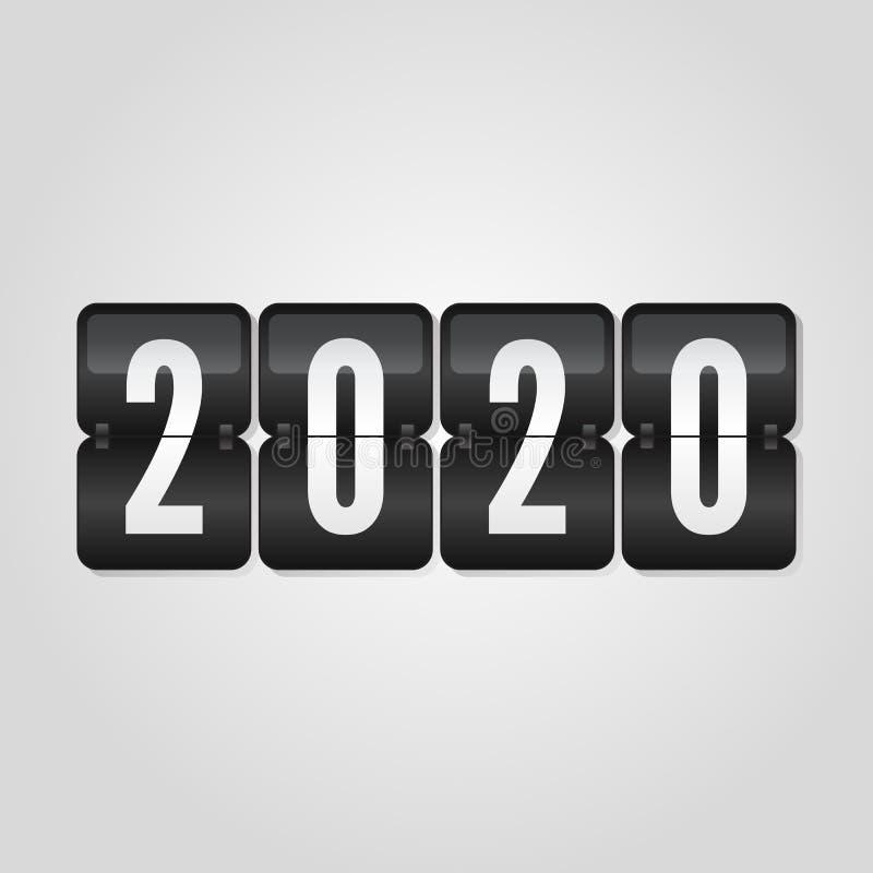 Congratulazione 2020, simbolo del tabellone segnapunti del buon anno di vibrazione sul fondo grigio di pendenza royalty illustrazione gratis