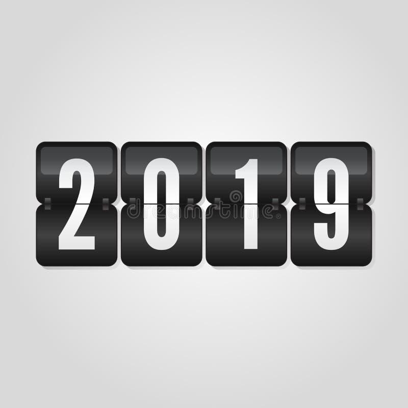 Congratulazione 2019, simbolo del tabellone segnapunti del buon anno di vibrazione sul fondo grigio di pendenza royalty illustrazione gratis
