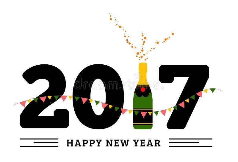 Congratulazioni ai nuovo 2017 anni felice con una bottiglia di champagne, bandiere illustrazione vettoriale