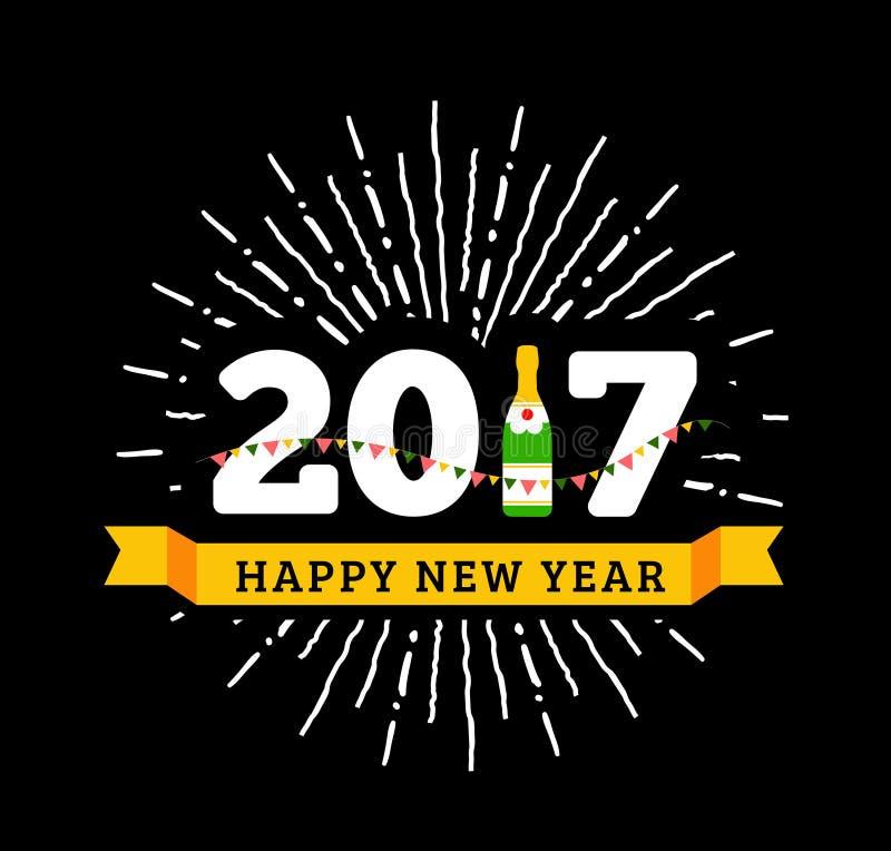 Congratulazioni ai nuovo 2017 anni felice con una bottiglia di champagne, bandiere royalty illustrazione gratis