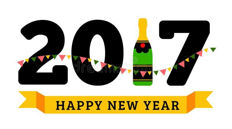 Congratulazioni ai nuovo 2017 anni felice con una bottiglia di champagne, bandiere illustrazione di stock