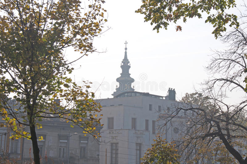 Congregational Church and the French Embassy in Belgrade. Landscape of beautiful architecture of the Congregational Church and the French Embassy in Belgrade royalty free stock photography