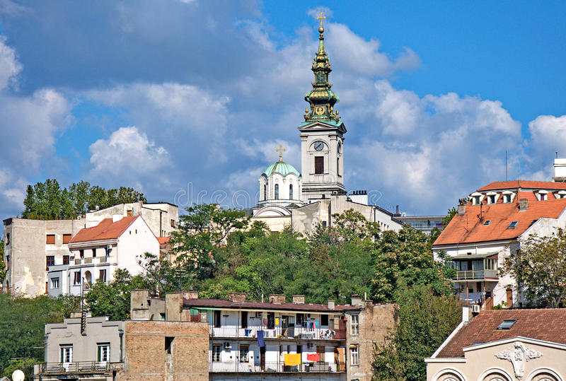 Congregational Church in Old city quarter of Belgrade. Congregational Church in the old city quarter of Belgrade was built in Neo-Baroque style, with richly stock photography
