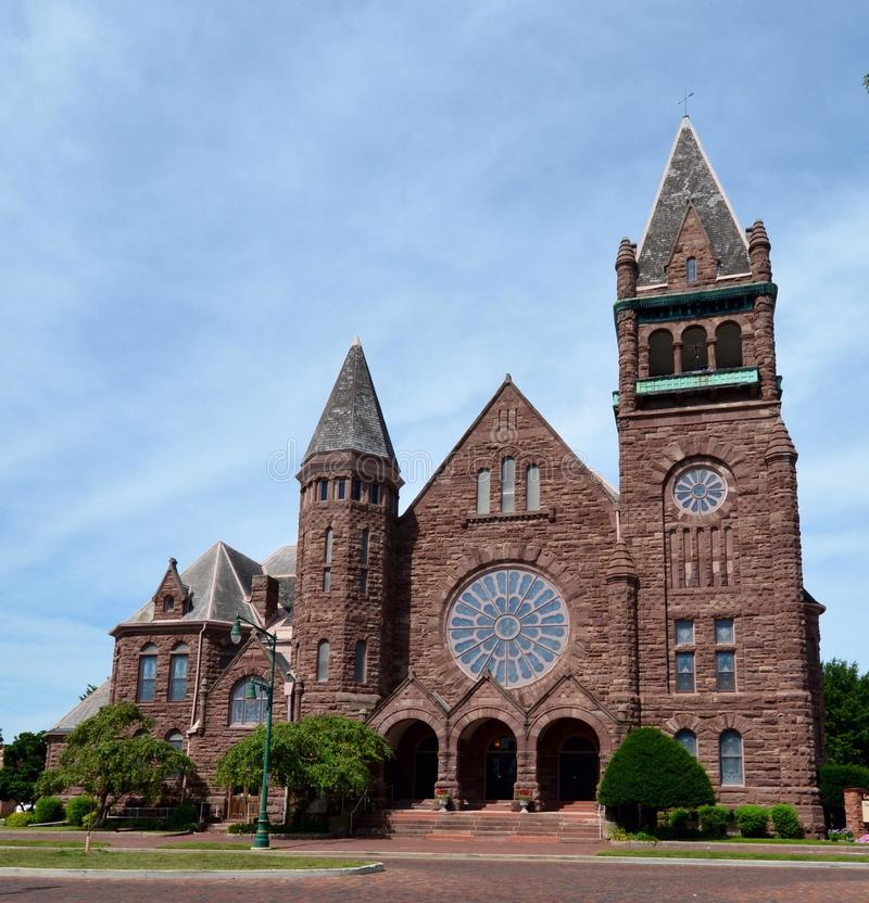 Congregational Church. This is a Summer picture of the Congregational Church in Galesburg, Illinois. The church was designed by C.E. Gotta chalk, is an example royalty free stock photos