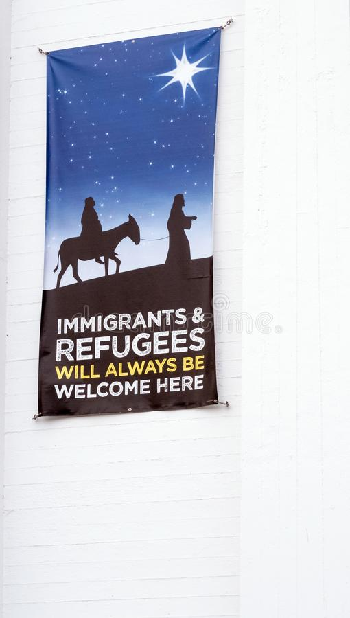 Congregational church welcoming immigrants and refugees. Sign on Congregational church welcoming immigrants and refugees, Pittsfield Massachusetts, Berkshires stock images