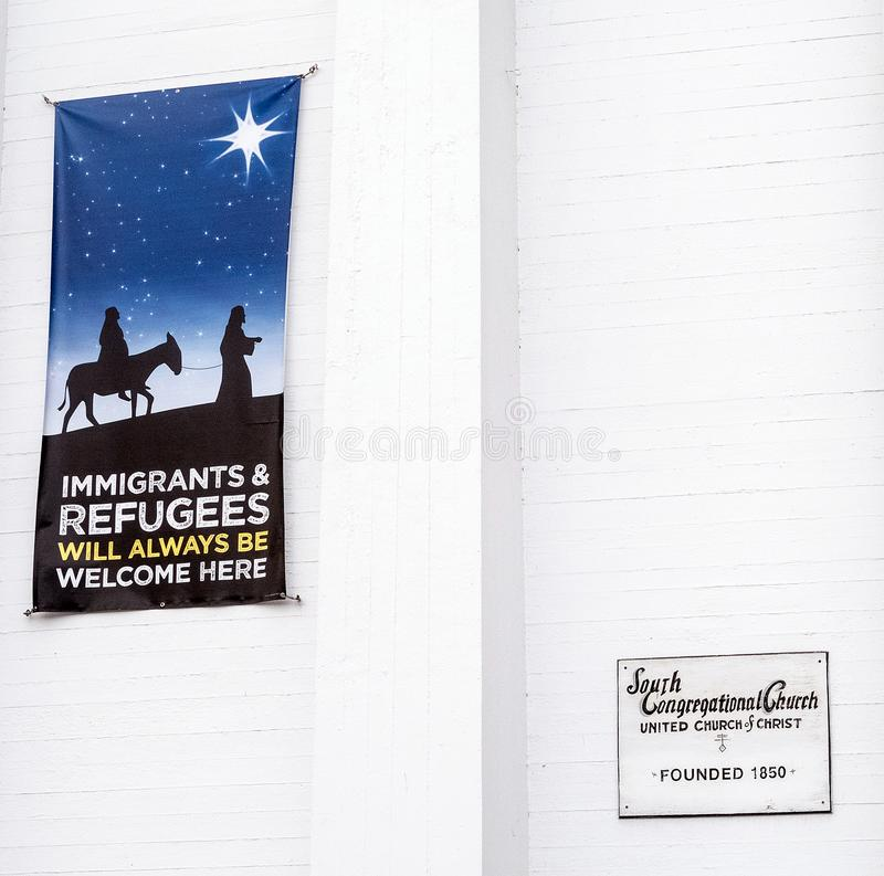Congregational church welcoming immigrants and refugees. Sign on South Congregational church welcoming immigrants and refugees, Pittsfield Massachusetts stock image