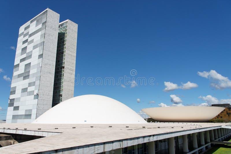 Congres dat Brasilia bouwt stock afbeelding