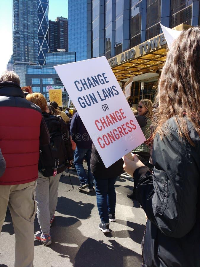 Congreso americano, leyes del arma del cambio, marzo por nuestras vidas, protesta, NYC, NY, los E.E.U.U. imagen de archivo libre de regalías