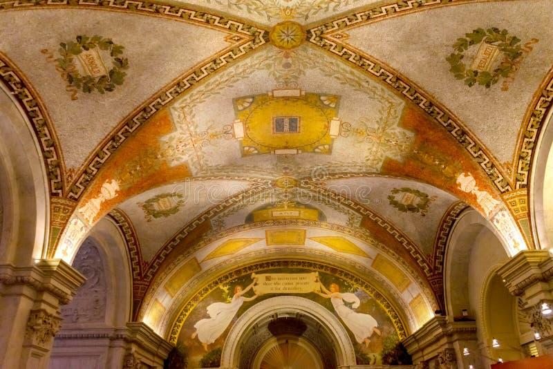 Congreso de la Biblioteca Subterránea de Túnel del Capitolio de Estados Unidos Washington DC imagen de archivo