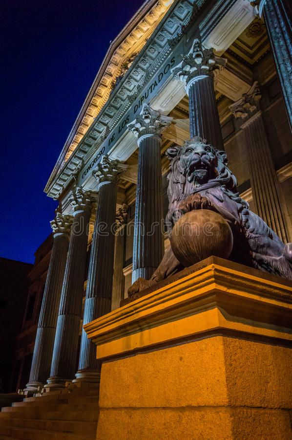 Congreso de los diputados in Madrid at night. Congreso de los diputados building in Madrid at night stock images