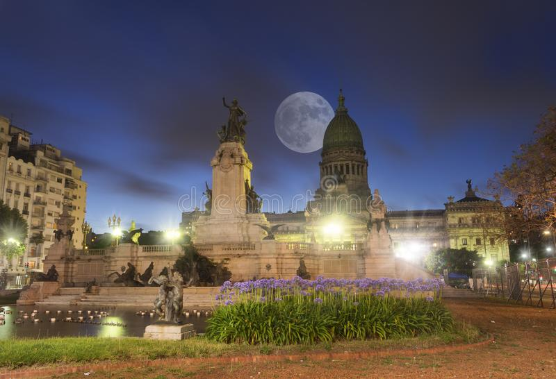 The Congreso De Nation in Buenos Aires Argentina. The Congreso De Nation is a govermental public building and office royalty free stock photo