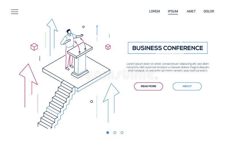 Congreso de negocios - línea bandera isométrica de la web del estilo del diseño libre illustration