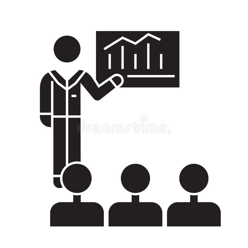 Congreso de negocios, mentor que enseña al icono negro del concepto del vector Congreso de negocios, mentor que enseña al ejemplo libre illustration