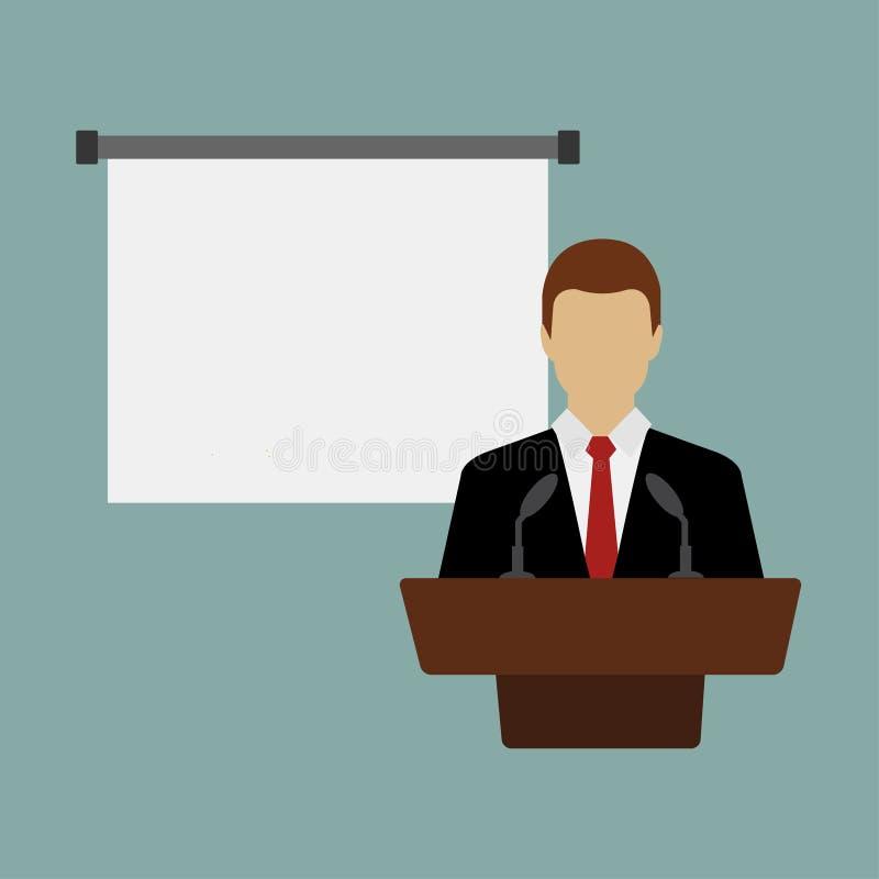 Congreso de negocios, reunión de negocios Hombre en la tribuna delante de la audiencia Orador que da una charla en la sala de con stock de ilustración