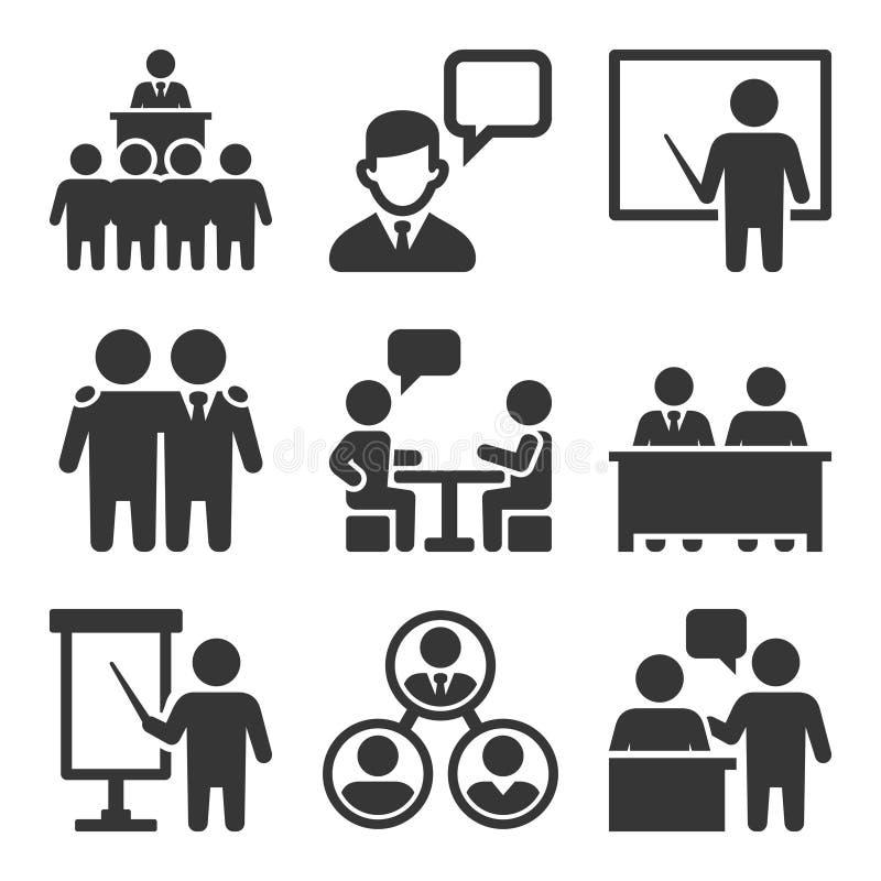 Congreso de negocios y hacer frente al sistema de los iconos Vector stock de ilustración