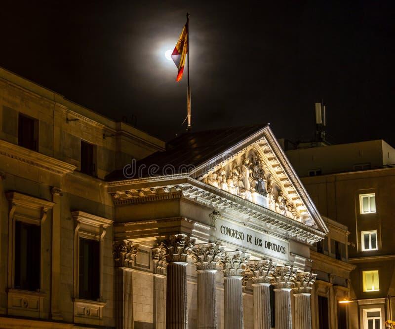 Congreso español de diputados en Madrid, España en la noche fotos de archivo libres de regalías