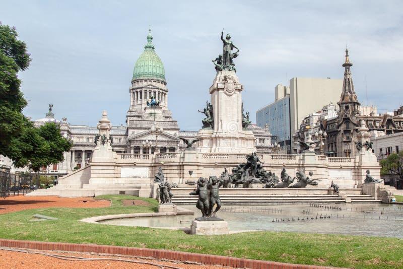 Congreso Nacional Buenos Aires Argentina. The facade of the National Parliament (Congreso Nacional) with its corinthian columns, a charriot statue and green stock photos