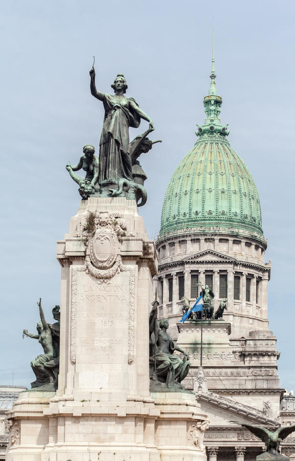 Congreso Nacional Buenos Aires Argentina. Detail of the facade of the National Parliament (Congreso Nacional) with its corinthian columns, a charriot statue and stock image