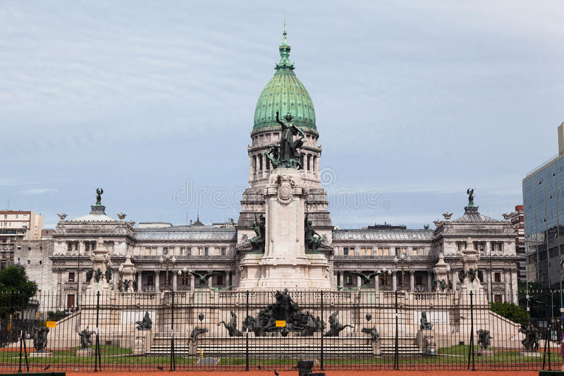 Congreso Nacional Buenos Aires Argentina. The facade of the National Parliament (Congreso Nacional), green copper dome and the fountain plaza with its statues royalty free stock photo