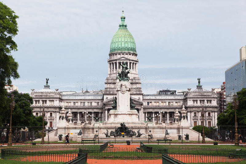Congreso Nacional Buenos Aires Argentina. The facade of the National Parliament (Congreso Nacional), green copper dome and the fountain plaza with its statues stock photo