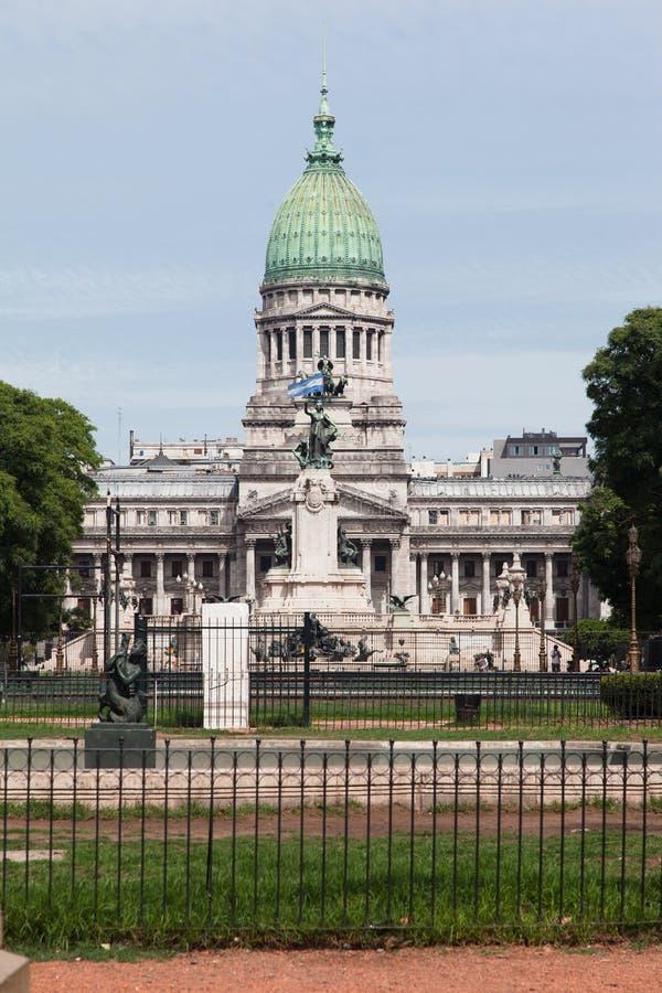Congreso Nacional Buenos Aires Argentina. Detail of the facade of the National Parliament (Congreso Nacional) with its corinthian columns, green copper dome and royalty free stock photo