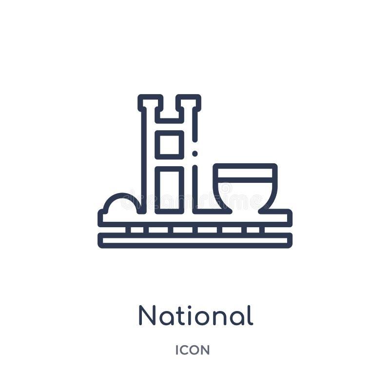 congreso nacional del icono del Brasil de la colección del esquema de los monumentos Línea fina congreso nacional del icono del B ilustración del vector