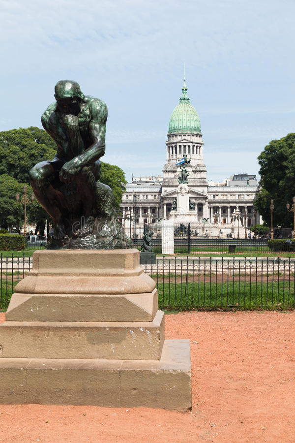 Congreso Plaza Buenos Aires. Congress Plaza, a replica of the thinker statue, the fountain and the facade of the Congreso with its large green copper dome stock photo