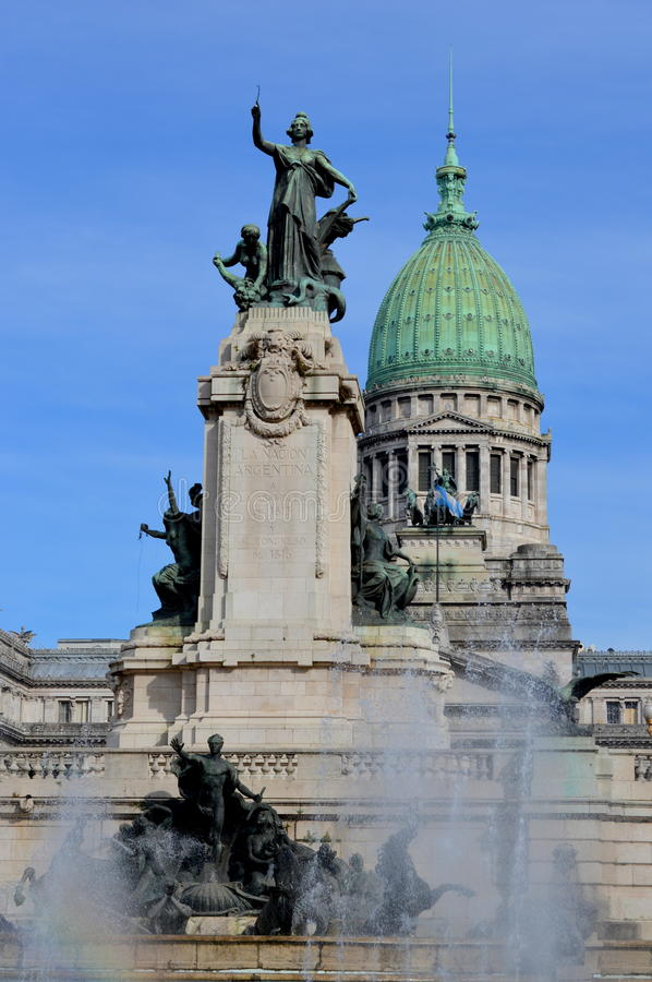 Congress of Argentina. Monument and dome of the Congress of Argentina stock photos