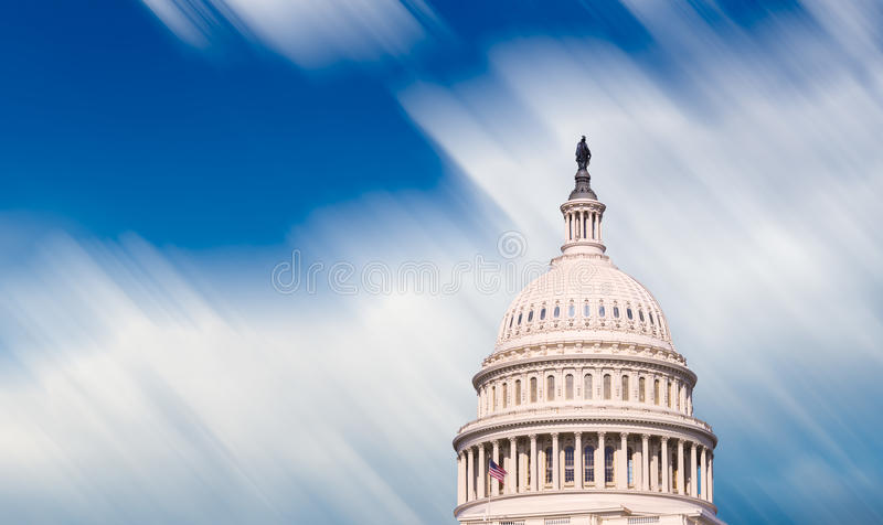 Congress capitol dome in Washington DC. Motion blur clouds illustrating time moving quickly past dome of Capitol senate building in Washington DC stock photos