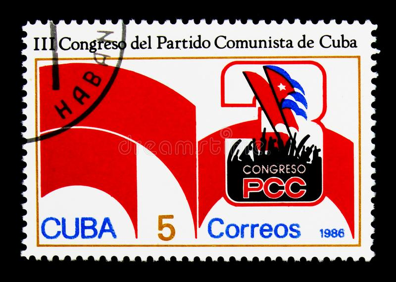 Congress emblem, 3rd Communist Party Congress serie, circa 1986. MOSCOW, RUSSIA - NOVEMBER 25, 2017: A stamp printed in Cuba shows Congress emblem, 3rd Communist royalty free stock image