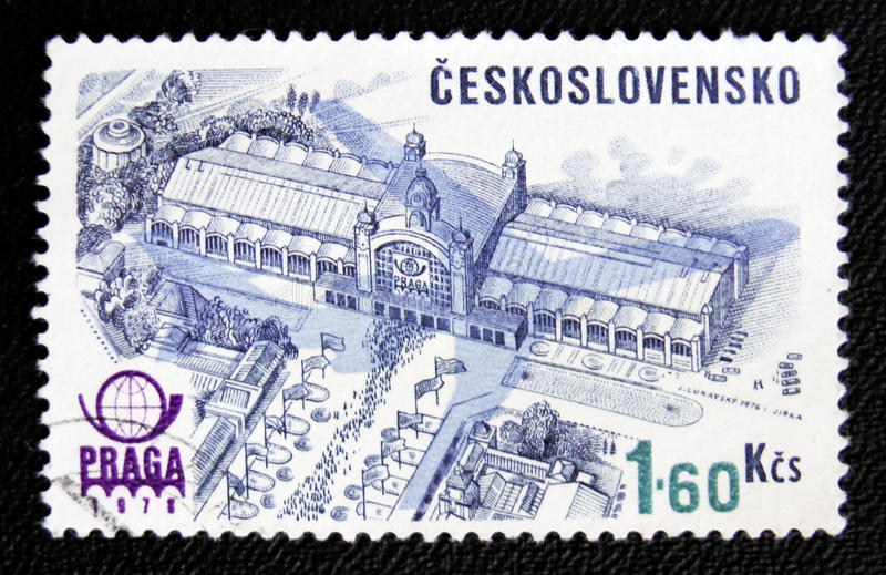Congress Hall in Praga, circa 1978. MOSCOW, RUSSIA - JANUARY 7, 2017: A stamp printed in Czechoslovakia shows Congress Hall building in Praga, circa 1978 royalty free stock image