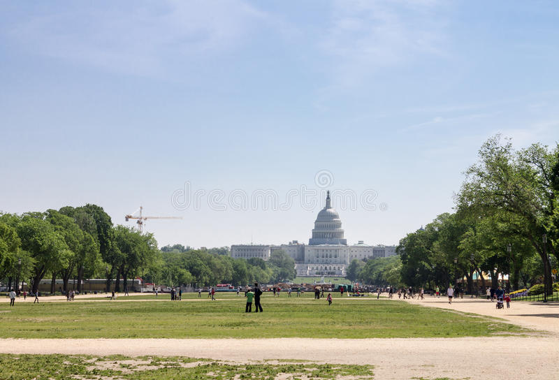Congress Washington. The Washington Congress building with its enormous dome and the mall royalty free stock images