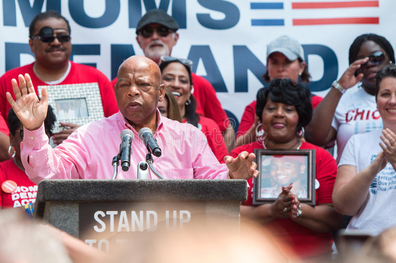 Congressman John Lewis Speaks At An Anti NRA Rally. Atlanta, GA, USA - April 29, 2017: Congressman John Lewis from Georgia speaks at a Moms Demand Action anti royalty free stock images