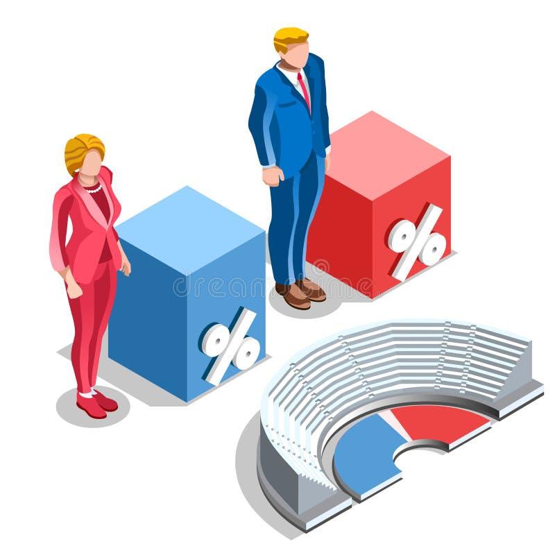 Congresso de Infographic da eleição nós povos isométricos do vetor ilustração stock